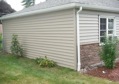 After siding with stone