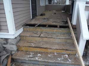 Replacing Wood Porch with Composite Decking