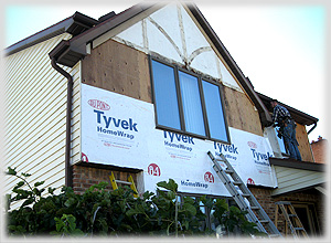 "Replacing Tudor Front! Maintenance free cement board Azek trim for new ""tudor"" look that will never rot"