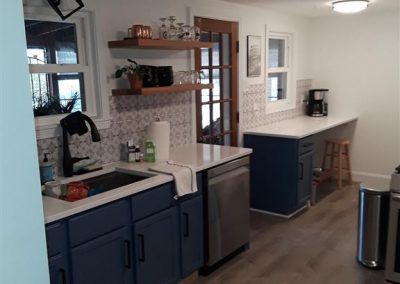 Finished Kitchen w/ Floating Shelves